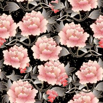 Chinese elegant botanic garden pink peony flower seamless pattern background.
