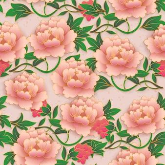 Chinese elegant botanic garden pink red peony flower seamless pattern background.
