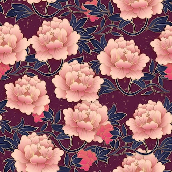 Chinese elegant botanic garden purple peony flower seamless pattern background.