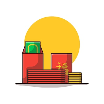 돈과 동전 만화 일러스트와 함께 중국 봉투입니다. 중국 새 해 개념 절연입니다. 플랫 만화 스타일
