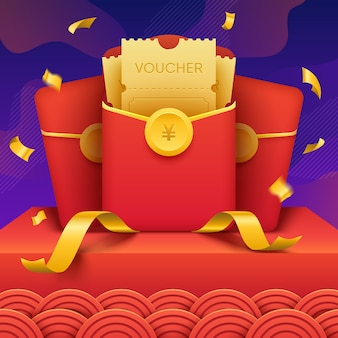 Китайский конверт с бумажными ваучерами. иллюстрация приза победителя в азиатском стиле.