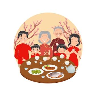 中国の家族は一緒に旧正月を祝う桜の木で飾られたテーブルで幸せな家族の夕食白い背景で隔離のフラットベクトル