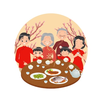 Chinese family celebrate lunar new year together happy family dinner at table decorated with cherry tree flat vector isolated on white background