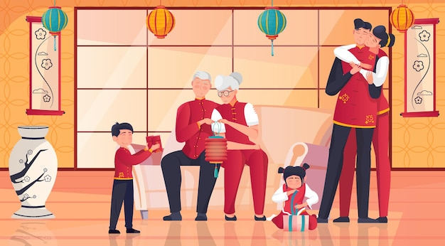 Chinese family celebrating new year together unwrapping presents in room with traditional eastern interior flat illustration