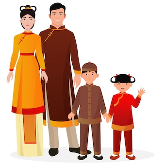 Chinese family in traditional national clothes