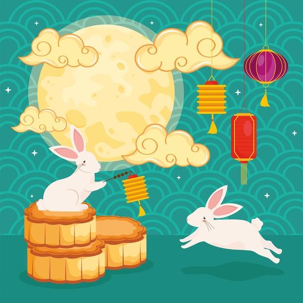 うさぎとの中国のお祭り