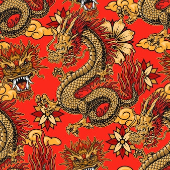 Chinese festive elements seamless pattern with dragons, flowers and clouds on red background