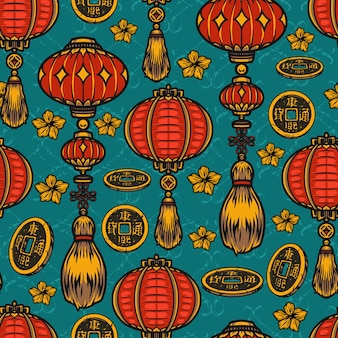 Chinese festive elements seamless pattern with red lanterns, lucky coins and flowers
