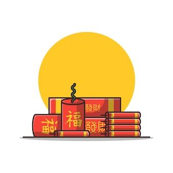 中国の爆竹漫画イラスト。分離された中国の旧正月の概念。フラット漫画スタイル