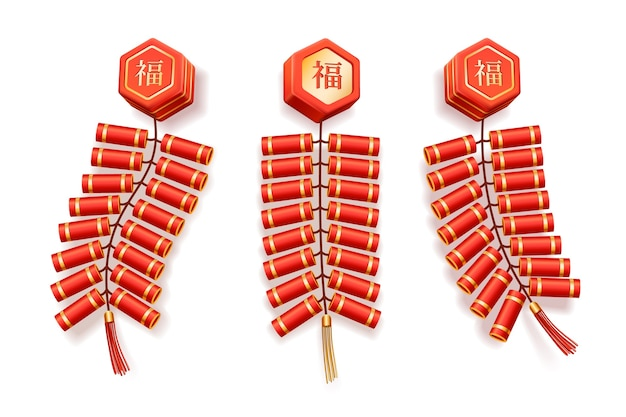 Chinese firecrackers isolated on white