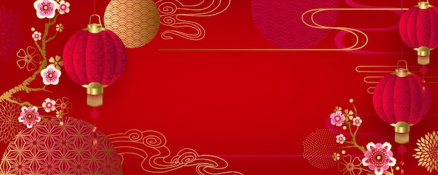 Chinese floral festive background for holiday design with lanterns