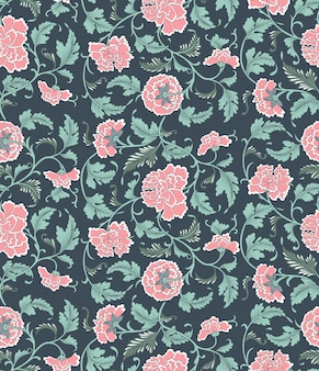 Chinese floral pattern with flowers of peony.
