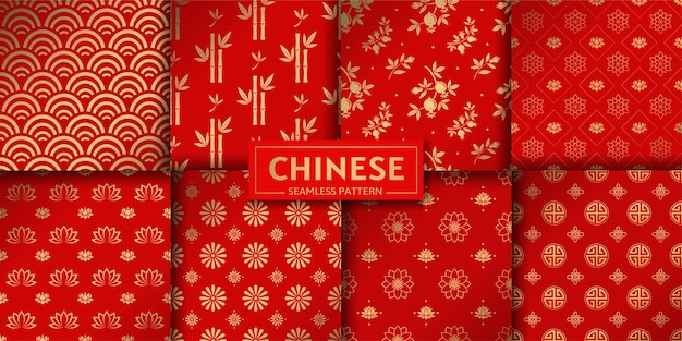 Chinese floral seamless pattern. set of lotus, bamboo, sea waves, garnet flowers