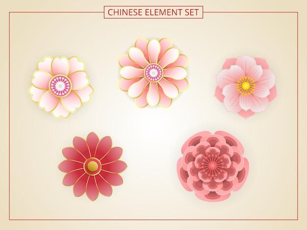 Китайские цветы с розовым цветом в стиле papercut.