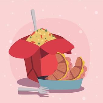 접시에 중국 음식과 크로와상