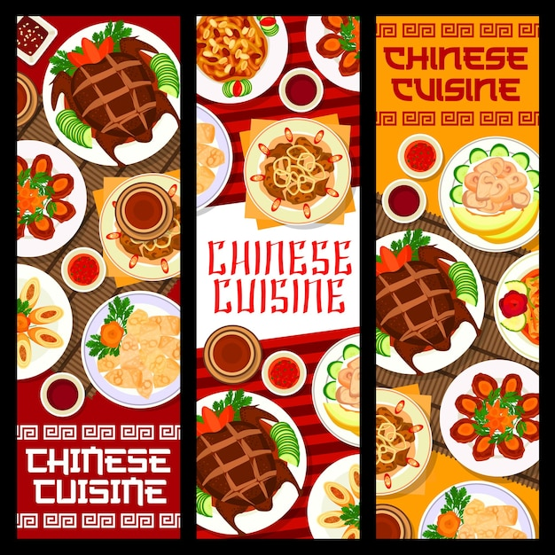 Chinese food banners, asian cuisine and china restaurant menu covers, vector. traditional chinese peking duck and wonton dumplings, stir fried liver with onion, sweet and sour pork with egg rolls meat