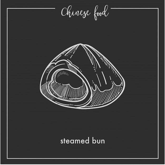 Chinese food chalk sketch steamed bun for china asian cuisine restaurant