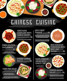 Chinese food dishes of asian cuisine restaurant menu template. rice noodles, beef meat and vegetable salad with chilli and garlic sauce, seafood spring rolls with shrimps, stuffed cucumbers