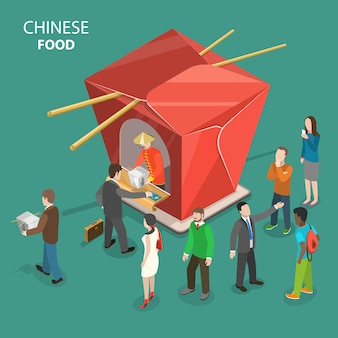 Chinese food flat isometric low poly vector concept.