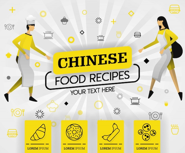 Chinese food recipes in yellow book cover