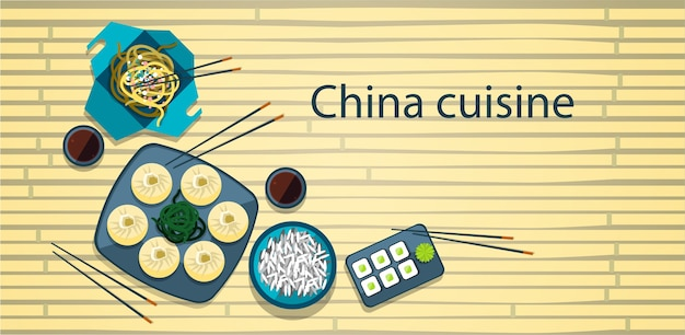 Chinese food traditional asian cuisine bamboo background