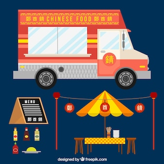 Chinese food truck in flat design