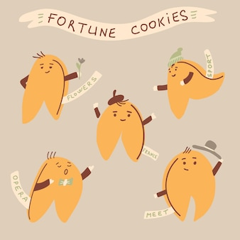 Chinese fortune cookie set in hand drawn cartoon style. isolated vector illustration