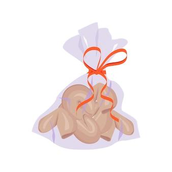 빨간 리본이 달린 가방에 중국 포춘 쿠키.