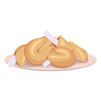 접시에 중국 포춘 쿠키입니다.
