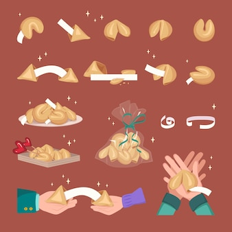 행운의 종이 조각을 흰색 템플릿으로 굽는 중국 포춘 쿠키 세트