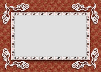 Chinese frame on red gold chinese pattern background