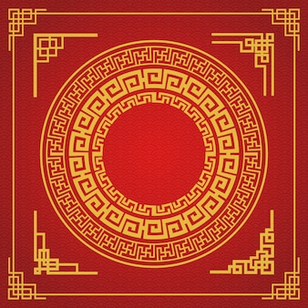 Chinese frame style design on red background