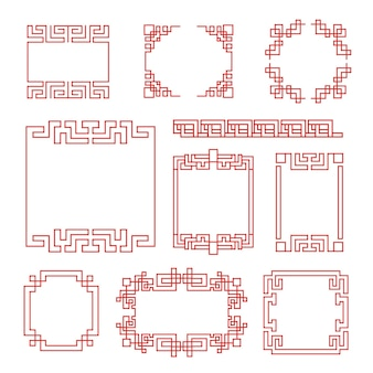 Chinese frames. asian traditional decorative traditional borders, oriental red line retro style for frames