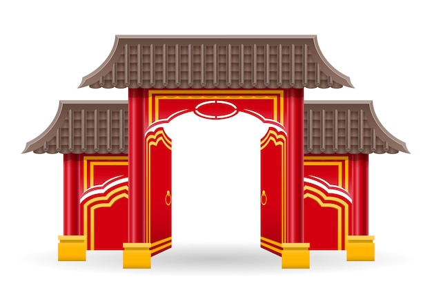 Chinese gate to enter a temple or pagoda with columns and a roof vector illustration isolated on background