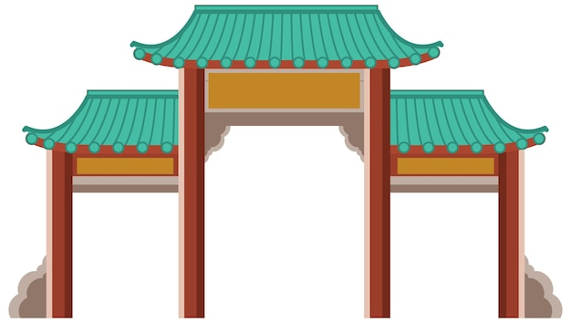 Chinese gate or paifang isolated on white background