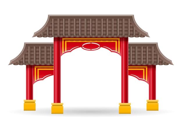 柱と背景に分離された屋根のベクトル図で寺院や塔に入る中国の門