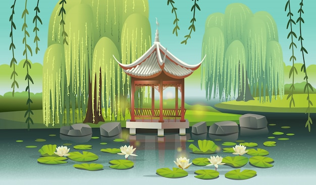 Chinese gazebo on the lake with water lilies and willows. сartoon style vector illustration.