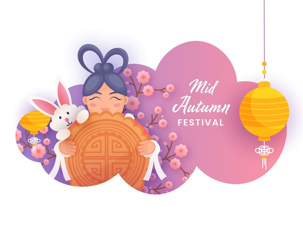 Chinese girl holding a moon cake with cartoon bunny, sakura flower branch and hanging lanterns on paper cut gradient background for mid autumn festival.