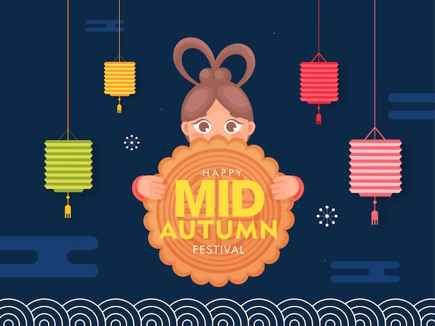 Chinese girl holding moon cake with colorful hanging lanterns decorated on blue background for happy mid autumn festival.