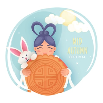 Chinese girl holding mooncake with cartoon bunny, clouds and full moon on abstract background for mid autumn festival.