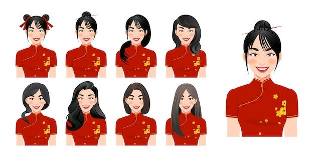 中国の女の子は異なる髪型セットの孤立したイラストとチャイナドレスを着用