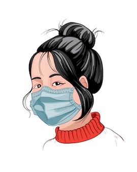 Китайская девушка с темными волосами и красным свитером в защитной маске. идея вируса короны