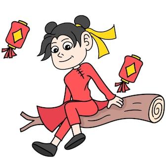 中国の女の子は中国の旧正月を祝い、落書きはカワイイを描きます。ベクトルイラストアート