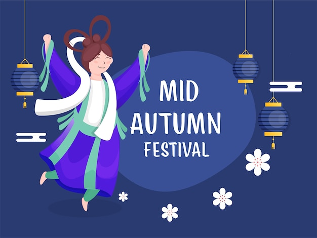 Chinese goddess character in jumping pose with flowers and hanging lanterns decorated on blue background for mid autumn festival.
