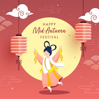 Chinese goddess of moon (chang'e) in dancing pose with hanging lanterns on pastel red and yellow background for mid autumn festival celebration.