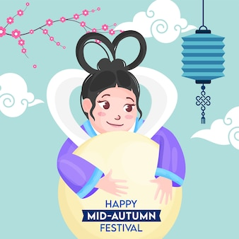 Chinese goddess of moon character with hanging lantern, clouds and sakura flower branch decorated background for happy mid-autumn festival.