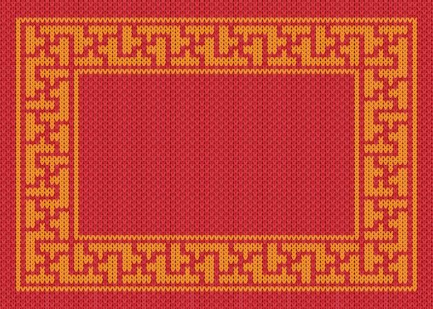 赤い背景を編んだ中国の金のフレーム