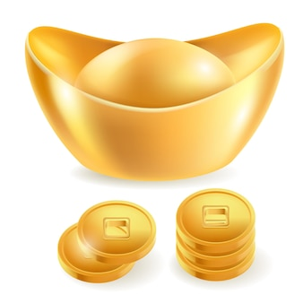 Chinese gold ingot isolated elements.