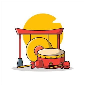 플랫 만화 스타일의 중국 새해 그림에 중국 징과 드럼