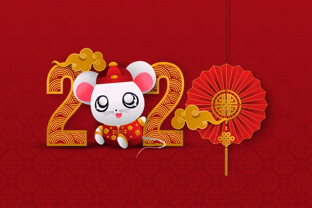 Chinese greeting card for happy new year 2020 vector